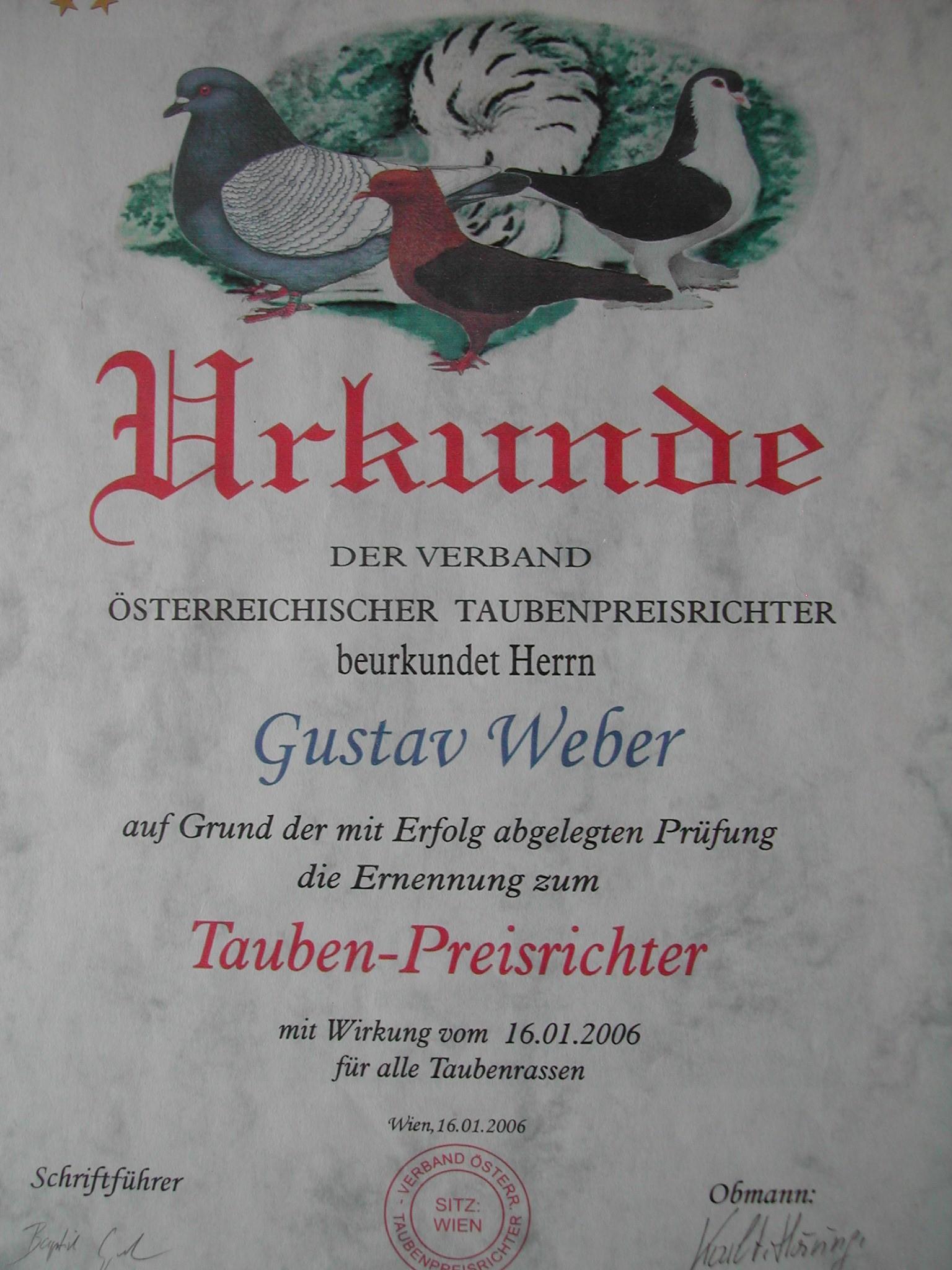 Urkunde anlässlich meiner Preisrichterernennung