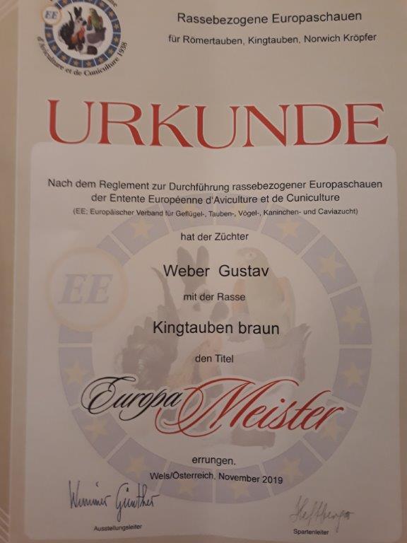 Europameisterurkunde RBE Wels 2019